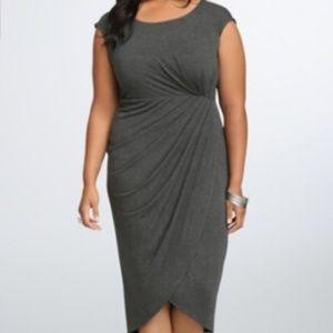 Torrid Grey Faux Wrap Jersey Midi Dress - size 3X